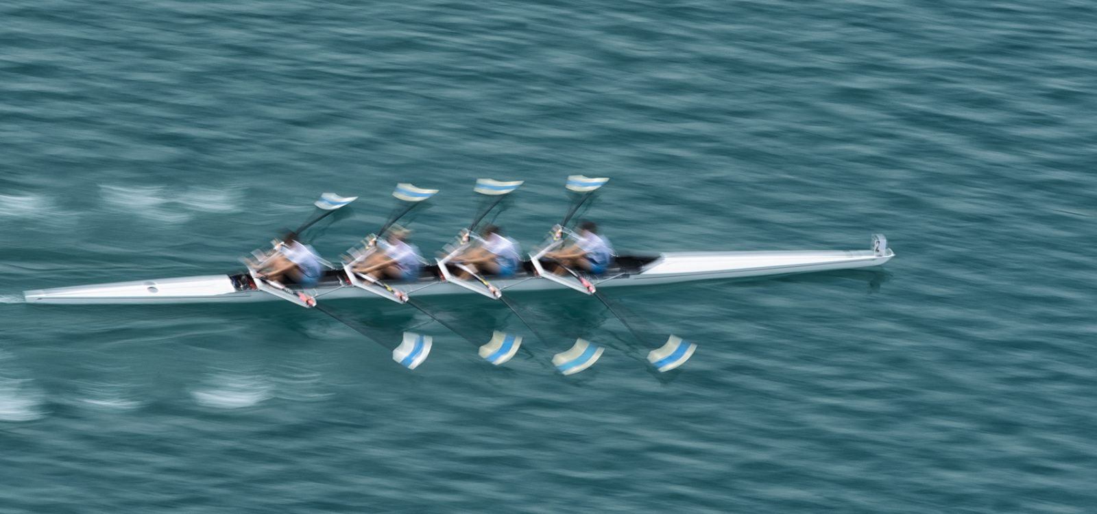 Quadruple Scull Rowing Team Practicing, Blurred Motion