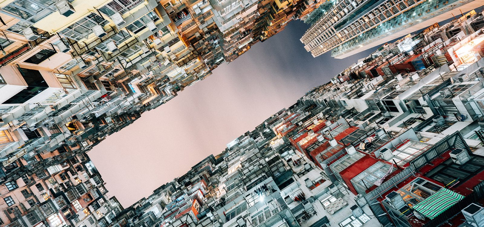 Crowded housing, apartment buildings in Hong Kong, China