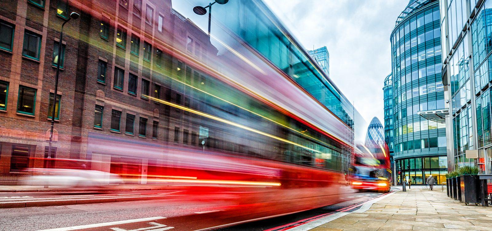 London double-decker bus at Bishopsgate